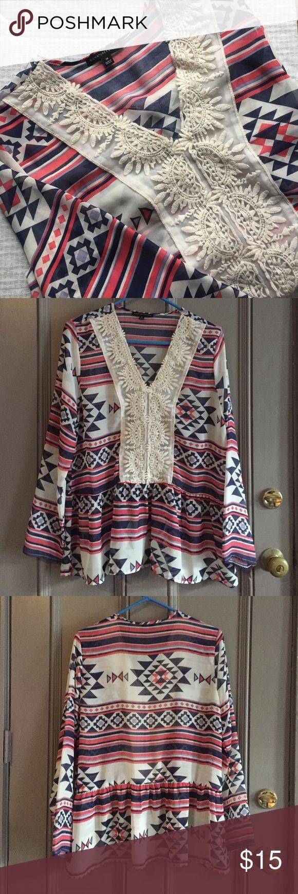 Aztek Sheer Blouse NWOT, Comfy Sheer aztec print blouse. Size medium but would definitely fit large. Signature Studio Tops Blouses
