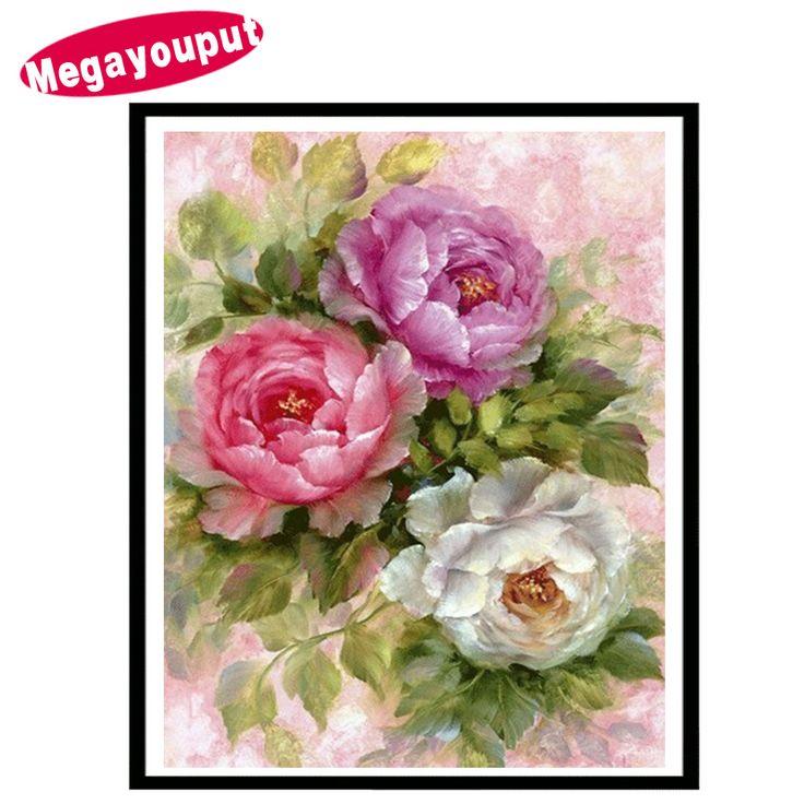 Megayouput 5d diy diamond painting cross stitch diamond embroidery peony flower picture round diamond mosaic pattern home decor #Affiliate