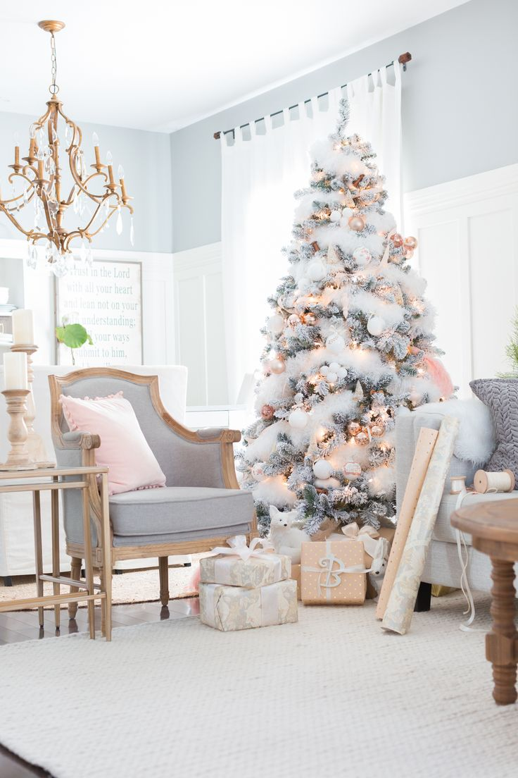 Christmas decorated rooms - Blush And Copper Christmas Tree Craftberry Bush Farmhouse Family Roomsfarmhouse Decorchristmas