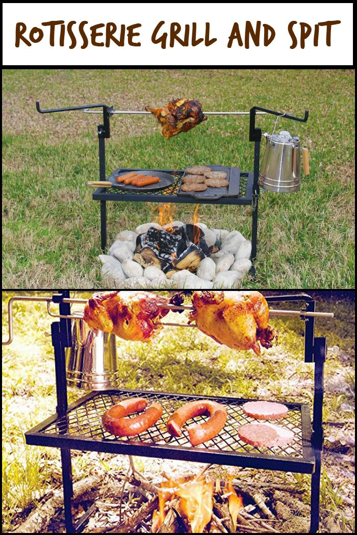 Make delicious meals on this portable rotisserie grill and spit on your outdoor adventures!