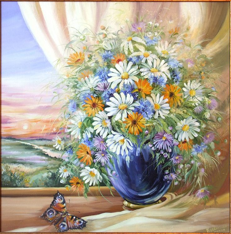 Картины - Цветы - Букет с бабочкой (Холст, масло)