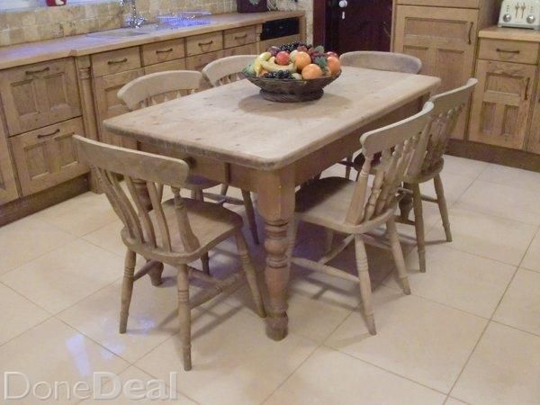 Solid Pine Country Kitchen Table With Side Drawer