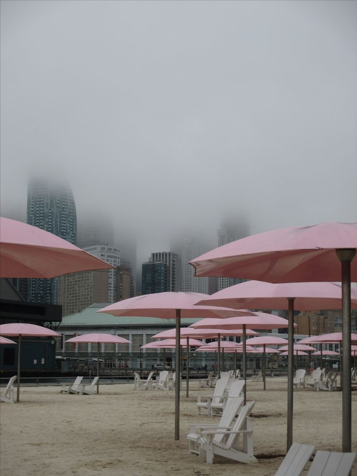 Foggy February day at Sugar Beach, next to Redpath's sugar refinery, Toronto