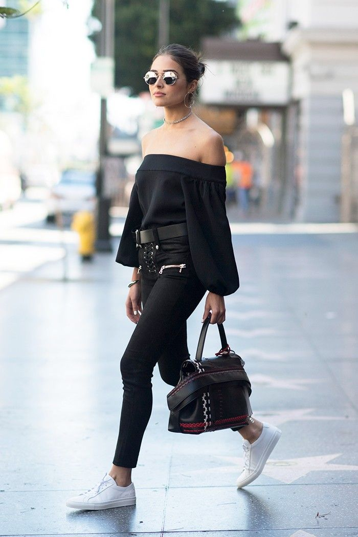 Wear black off-the-shoulder tops and skinnies white white sneakers for the perfect weekend look via 5 New Ways to Style Your Sneakers via @WhoWhatWear