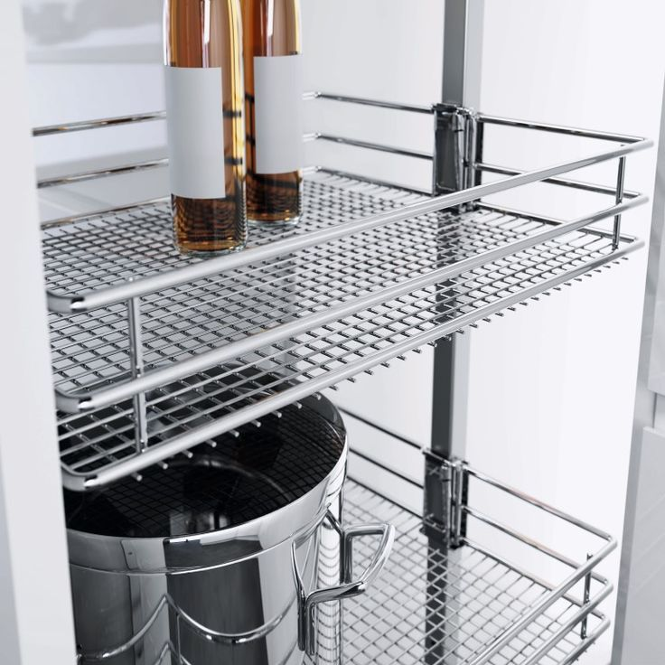 Love Vauth-Sagel's DUSA Pull Out Larder Unit. Available with three different basket options, this one is Saphir - a chromed wire basket.