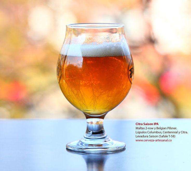 Citra IPA. Esta cerveza tiene color dorado con un ligero tono ambar, cuerpo ligero, intenso aroma a frutas cítricas y tropicales, y sabores a piña y mandarina. Además es bien amarga, balanceada y muy refrescante. http://www.cerveza-artesanal.co/ipa-version-1-maltas-2-row-y-belgian-pilsner-lupulos-columbus-centennial-y-citra-levadura-belga/