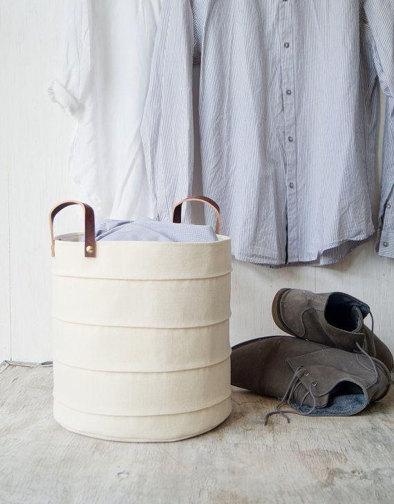 Laundry hamper. Toy storage. Medium storage basket Canvas storage bin Nursery hamper Bathroom storage bucket Baby hamper White nursery decor