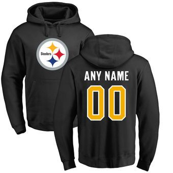 Pro Line Pittsburgh Steelers Black Any Name & Number Logo Personalized Pullover Hoodie  #steelers #pittsburgh #nfl
