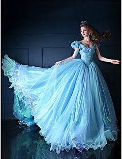 Robe - Bleu Ciel Soirée formelle Mode de bal Col en V Traîne mi-longue Organza/Tulle/Satin de Laine