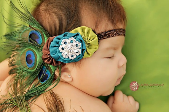 The BELLISSIMO PEACOCK Headband  Luxurious by LaurisCreations, $14.95