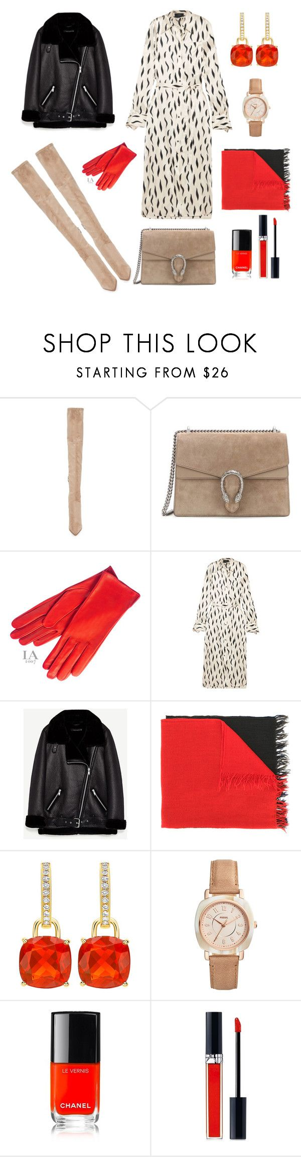 """Untitled #678"" by mary-en ❤ liked on Polyvore featuring Kendall + Kylie, Gucci, Joseph, Y's by Yohji Yamamoto, FOSSIL, Chanel, Christian Dior, colorful, fallfashion and fall2017"