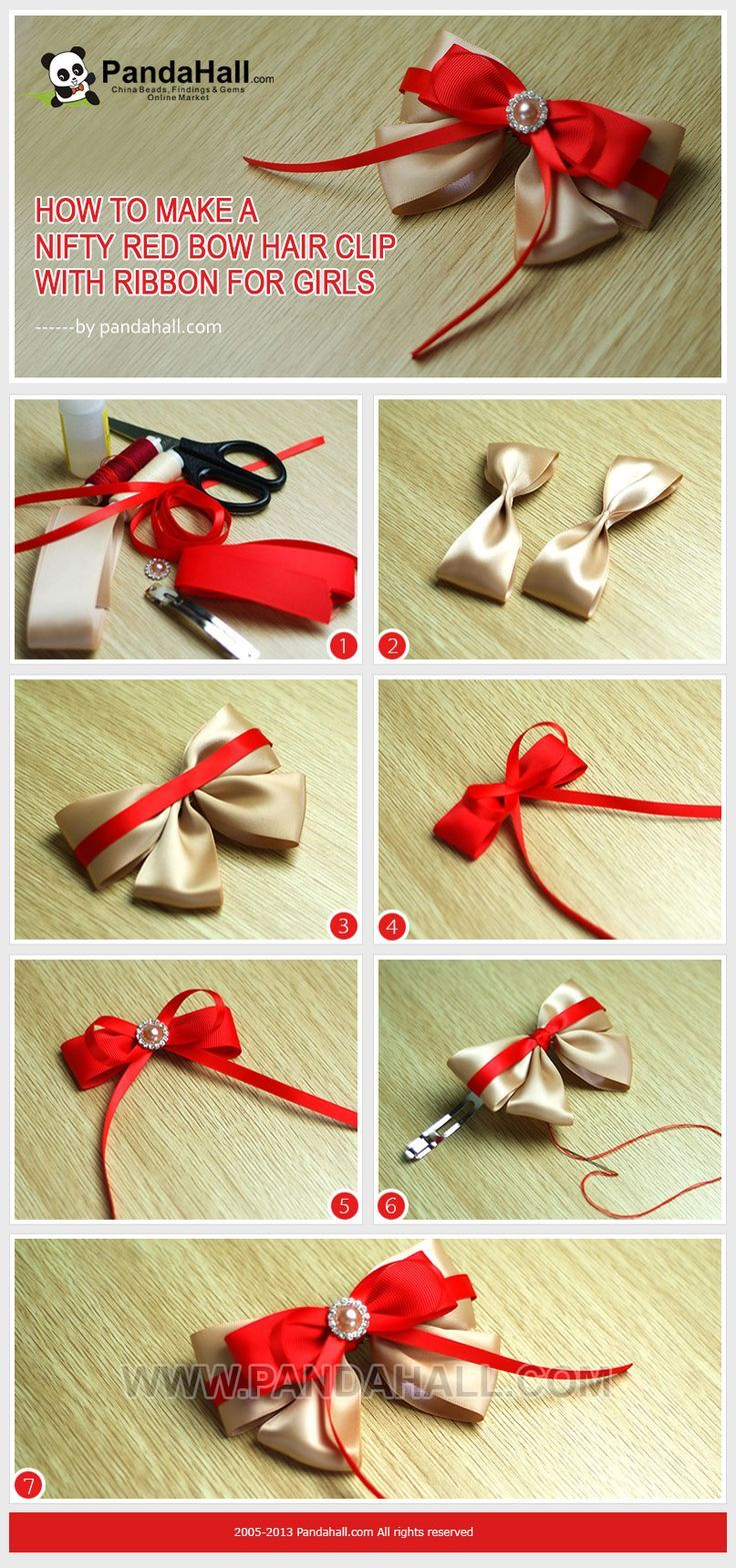 #DIY How to Make a Nifty Red Bow Hair Clip with Ribbon for Girls