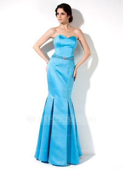 Bridesmaid Dresses - $116.99 - Trumpet/Mermaid Sweetheart Floor-Length Satin Bridesmaid Dress With Beading (007000907) http://jjshouse.com/Trumpet-Mermaid-Sweetheart-Floor-Length-Satin-Bridesmaid-Dress-With-Beading-007000907-g907