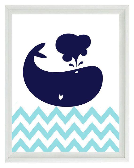 Nautical Whale Chevron Wall Art Print  - Navy Blue Aqua White - Nursery Children Room Home Decor 8x10 print