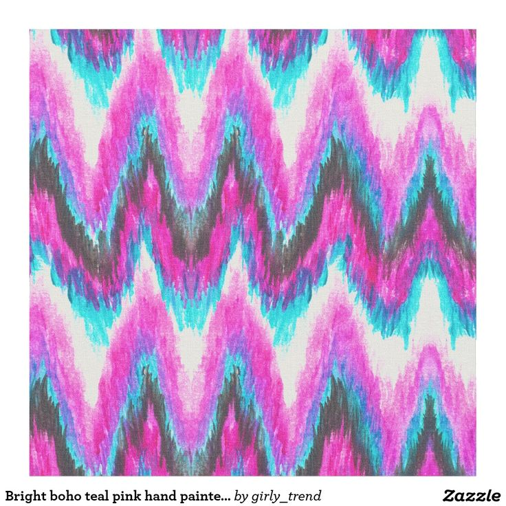 Bright boho teal pink hand painted ikat chevron fabric