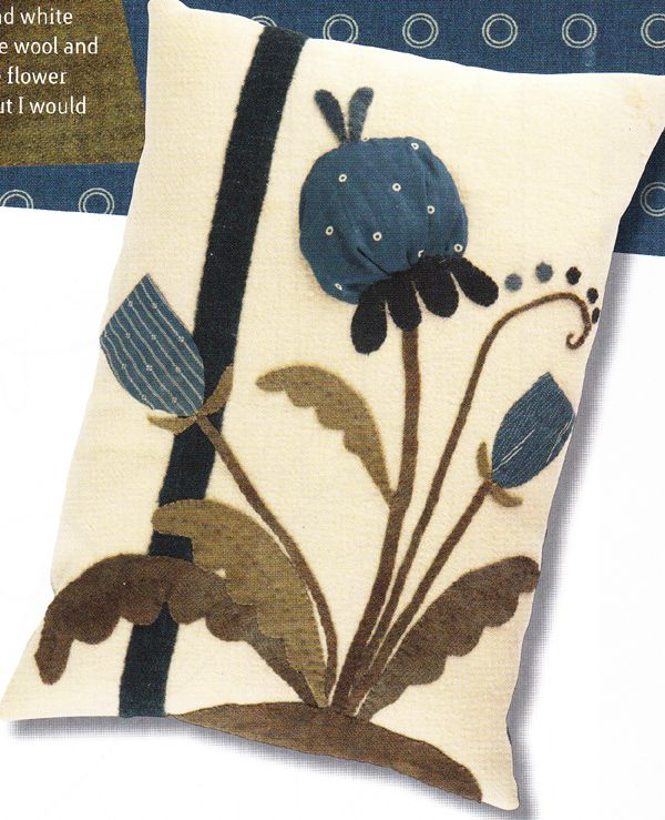 "Blue & White Pillow Kit - ""The Quilted Crow Quilt Shop, folk art quilt fabric, quilt patterns, quilt kits, quilt blocks"