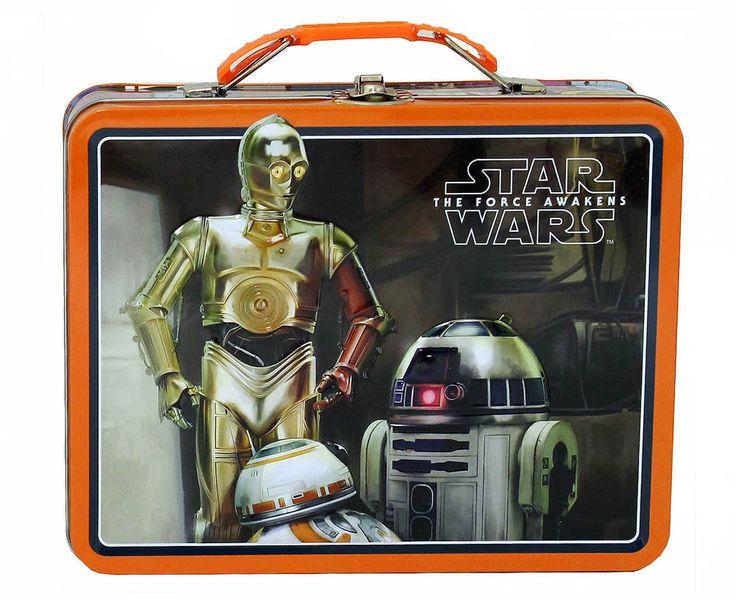 Star Wars Black/Orange Lunch Box Girls Children Metal Tin Steel School Bag #Unbranded