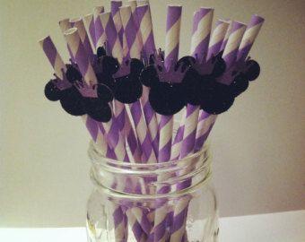 Black Glitter Minnie Mouse with Lavender Purple Princess Crown or Tiara on Lavender Stripe Paper Straw