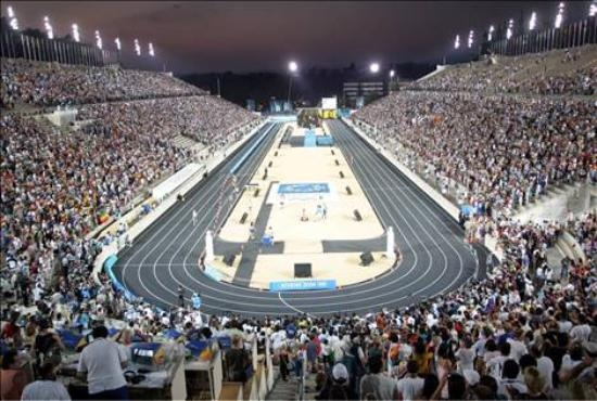 Finish line for the Athens Marathon! Panathinaiko Stadium Athens, Greece (2004 Olympics)