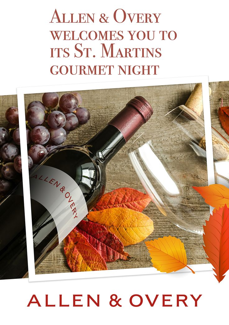 Allen & Overy St. Martins Day gourmet night event welcome sign