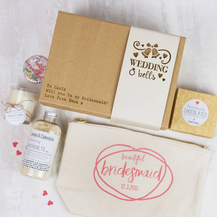 I've just found 'Wedding Belle' Personalised Gift Box. Our personalised 'Wedding Belle' gift box is a beautiful collection of handmade gifts for a bridesmaid or the bride herself.. £45.00