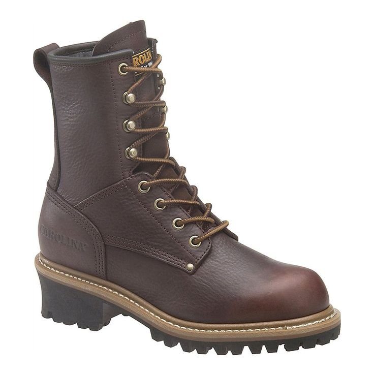 """Carolina Women's 8"""" EH Logger Boots  $99  Features:   Dark brown leather upper 8"""" lace-up shaft Taibrelle lining Electrical hazard rated Steel shank Welt construction One-piece rubber lug outsole"""