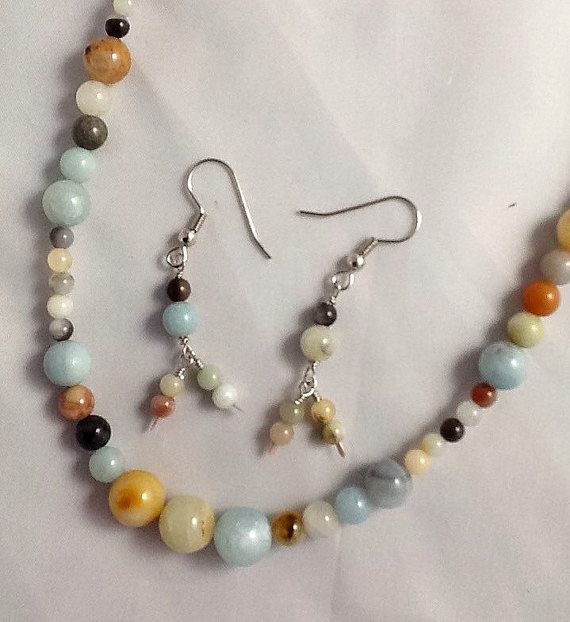 Natural Amazonite  Round Multicolour Beads, 4 6 8 10mm. Stunning 20 inch Necklace and Dangling Earring Set.