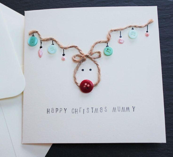 Carte Noël carte de Noël renne pour maman papa par DottyRainbows