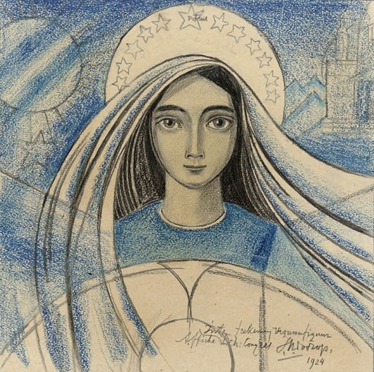 Jan Toorop, Internationaal Eucharistisch Congres, 1924, Pencil and crayon on paper