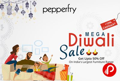 Pepperfry #Mega #Diwali #Sale brings Upto 50% off + 10% #cashback on #Furniture, #Decor, #Bedding, #Furnishings, #Lamps, #Bar and more.   http://www.paisebachaoindia.com/pepperfry-mega-diwali-sale-upto-50-off/