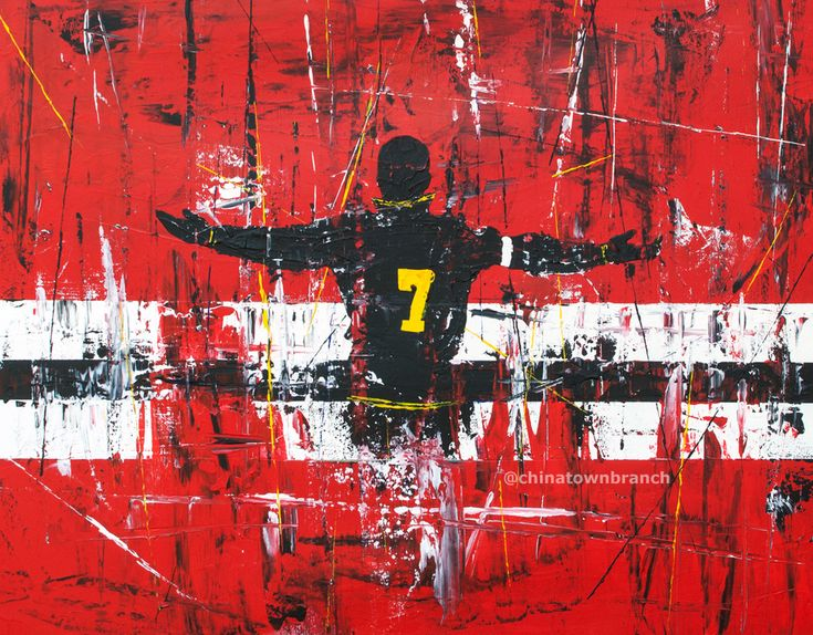 "Eric Cantona, Abstract Expressionist 22""x28"" Acrylic on canvas By Brendan Higgins 2014 #Art, #Painting, #ManUnited #Poster, #ManchesterUnited"