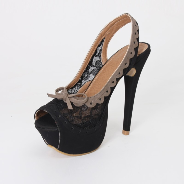 """Tender"" Lace detail gothic shoe"