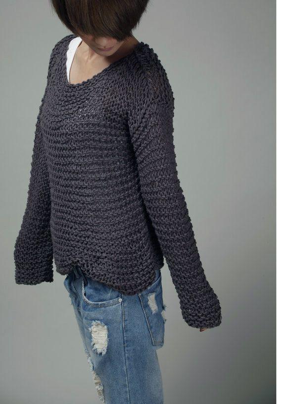 Einfach ist das beste  Hand stricken Pullover Öko von MaxMelody