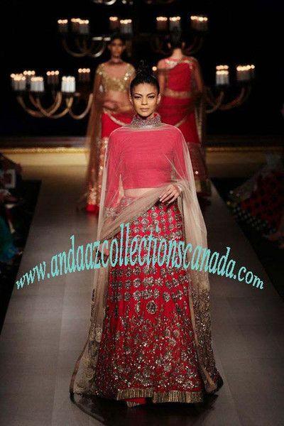 Attractive Red And Gold And Manish Malhotra Silk Wedding Lehenga