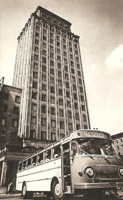 Warsaw Hotel in Powstancow Warszawy Square Warszawa 1960, photographic…