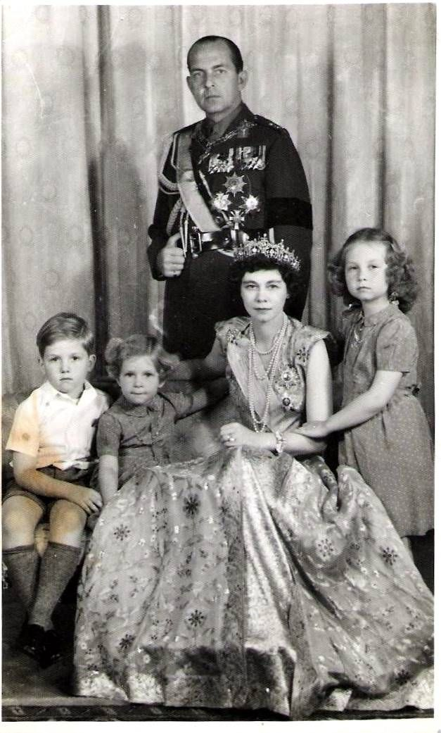 King Paul I and Queen Frederica of Greece with their children (left to right), Prince Constantine (later King Constantine II, last king of Greece), Princess Irene and Princess Sophia, current Queen of Spain.