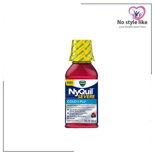 Nyquil Sever Max Strength نايكويل شراب للبرد والانفلونزا Nyquil Runny Nose Mustard Bottle