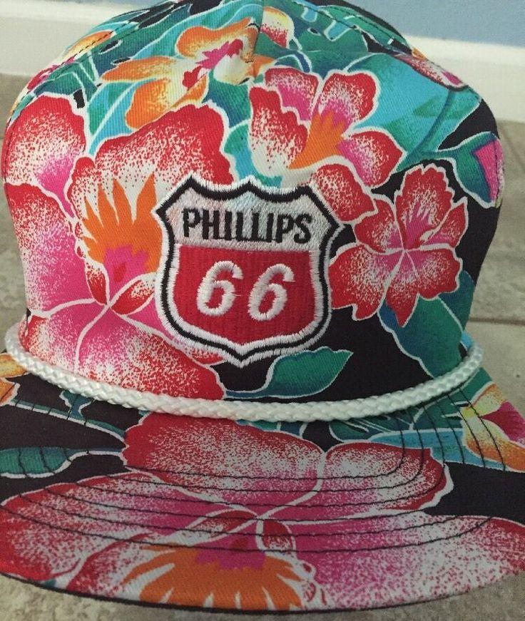 Vintage Rare Phillips 66 Cap Embroid. Logo Baseball Hat Hawaiian Print SnapBack #SanSun #BaseballCap