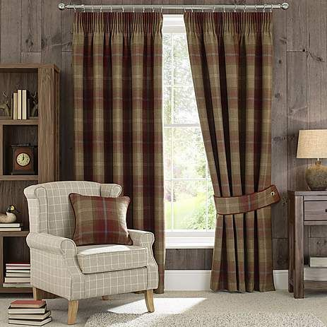Highland Check Wine Lined Pencil Pleat Curtains | Dunelm