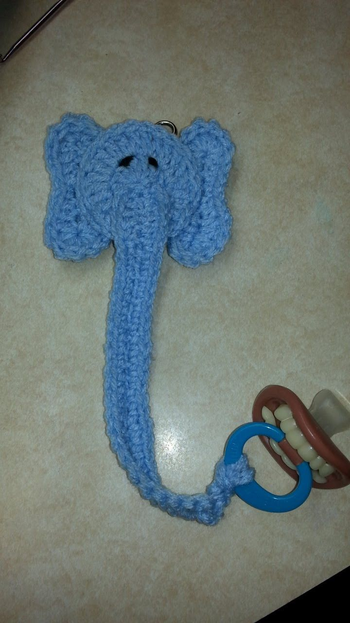 #Crochet Pacifier Leash Holder elephant #TUTORIAL (i have written the pattern out in downloads)