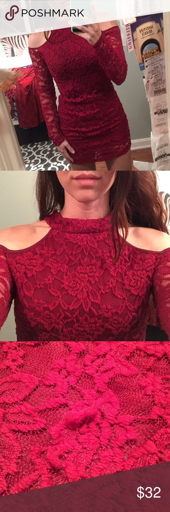 Maroon Lace long-sleeve dress So pretty! Worn once but the lace shows it. A full pills and the arms have little strings (as shown) Charlotte Russe Dresses Mini