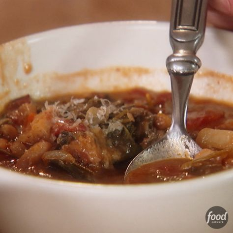 Recipe of the Day: Giada's Winter Minestrone Pureed cannellini beans mixed with beef broth add creaminess to this hearty soup, and whole cannellini beans add another layer of texture. But Giada's secret weapon is a frozen Parmesan rind: It melts slowly and adds a salty, buttery flavor to the soup.