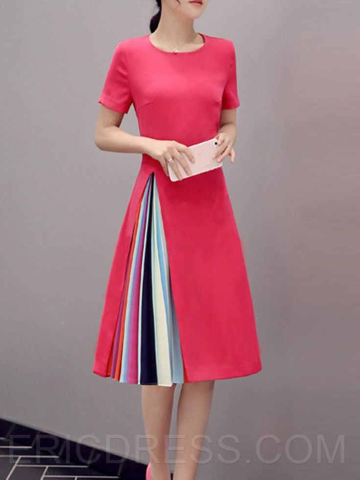 Ericdress Color Block Patchwork Short Sleeve Round Neck Casual Dress 1