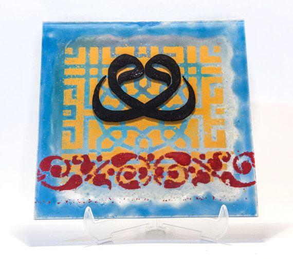 Beautiful Ottoman inspired fused glass plate by AtelierThalia
