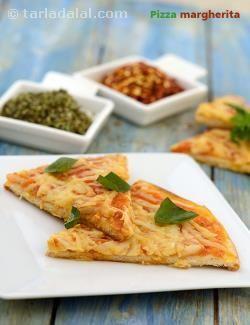 Pizza Margherita, Thin Crust Veg Pizza recipe   Quick Indian Healthy Recipes   by Tarla Dalal   Tarladalal.com   #4091