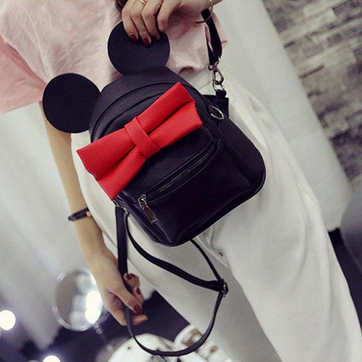 2016 printemps nouveau sac femelle qualité pu cuir femmes sac version coréenne de Mickey oreilles arc doux Collège Vent mini backpackXA245B dans Sacs à dos de Bagages et Sacs sur AliExpress.com | Alibaba Group