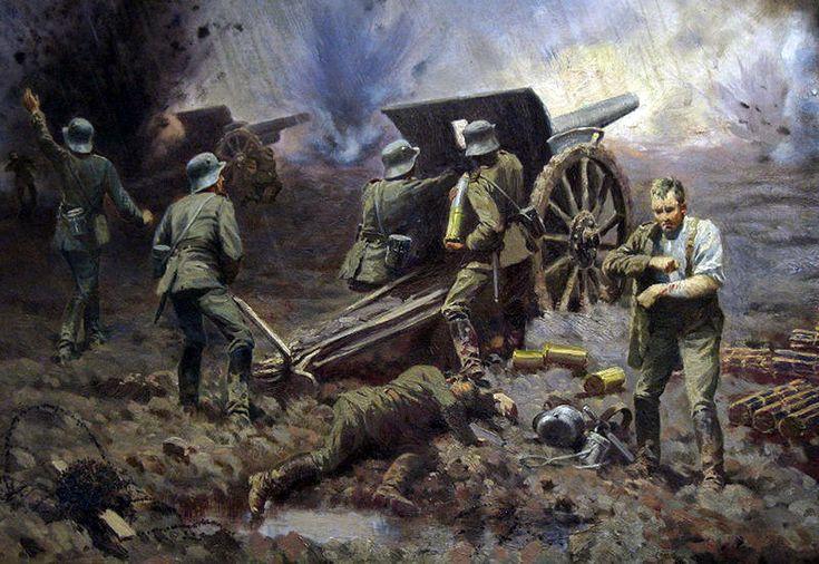 Batería de cañones alemanes de 7,7-cm FK16. Más en www.elgrancapitan.org/foro