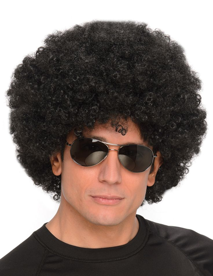 Peluca afro negra hombre: Esta peluca afro para adulto es de pelo rizado y negro.La peluca tiene corte con volumen.Con esta peluca afro completarás tus disfraces disco para Carnaval.