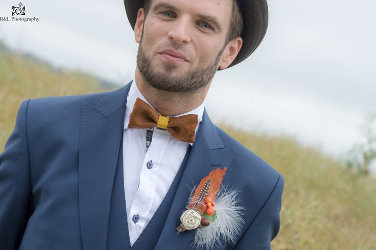 Bespoke handcrafted bowtie, pocket square and alternative buttonhole from Lilly Dillys, Photography by R&L Photography   #lilly dillys #bowtie #pocket square #button hole #buttonniere #brown #autumn #groom #ushers #wedding #bespoke #luxury #handcrafted #patterned