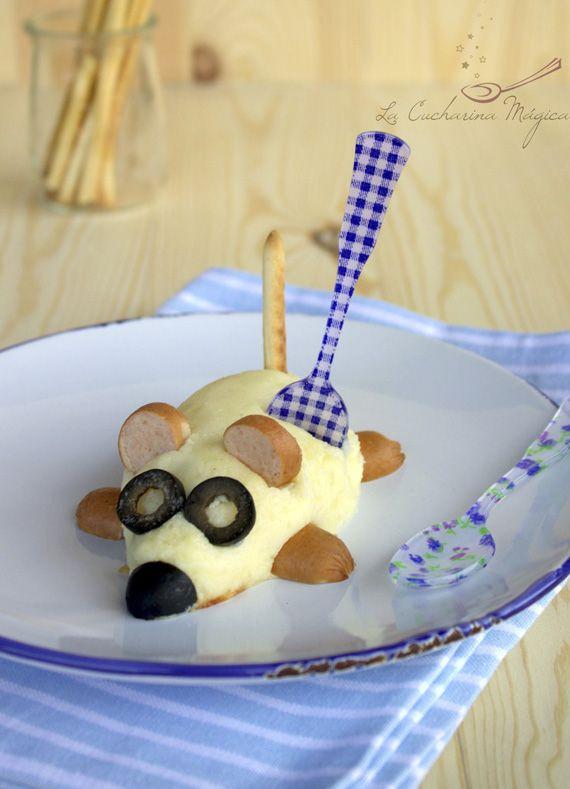 La Cucharina Mágica: Patatouille, ratoncito de puré de patata, relleno de salchicha. Potato mouse with sausages, brilliant easy idea